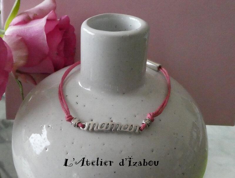 P1030542 Bracelet fin maman coton ciré rose, perles métal et fermoir pression