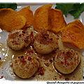 Saint-jacques snackees, chips de patates douces