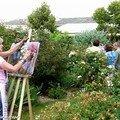 Des artistes reproduisent la roseraie au pastel (9 juin 2007)