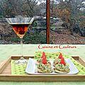 Cocktail manhattan & mini-blinis avocat/roquette/saumon fumé/pamplemousse