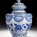 An extremely rare and important blue and white jar and cover, yuan dynasty (1279-1366)