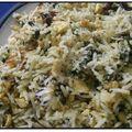 Risotto végétarien - épinards, tofu, champignons, sésame