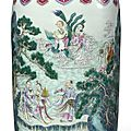 A Large Ruby-Ground Famille-Rose 'Eight Daoist Immortals' Vase, Qianlong Seal Mark and Period (1736-1795)