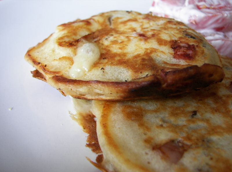 Pancakes jambon/champignons et pavé d'affinois