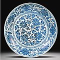 A large blue and white 'peony' dish. ming dynasty, 16th century