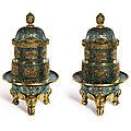 A Pair of Massive Cloisonné Incense Burners and Covers, Qing Dynasty, <b>Qianlong</b> <b>Period</b> (<b>1736</b>-<b>1795</b>)