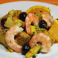 Artichauts poivrades et crevettes marinés à l'orange et au safran