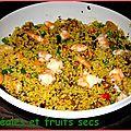 Salade aux céréales, crevettes et fruits secs