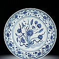 A rare large blue and white 'Lotus Bouquet' <b>dish</b>, Ming dynasty, Yongle period (1403-1425)