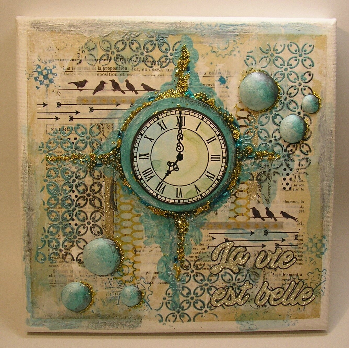 N°14 TABLEAU MIXED-MEDIA HORLOGE