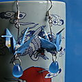 Vendues - origami - boucles d'oreilles grues bleues 01-13