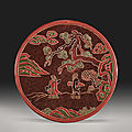 A <b>polychrome</b> lacquer circular box and cover, Ming dynasty, 17th century