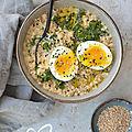 Porridge vapeur {<b>kale</b> & oeuf mollet} #glutenfree