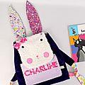 Sac à dos fille lapin personnalisé prénom Charline violet rose sac fille personnalisable liberty