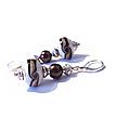 Boucles d'oreilles vintage <b>argent</b> <b>925</b>, perles de murano blanches à motifs