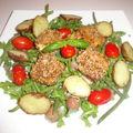 Salade de chévre chaud pané aux épices