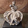 Sculpture Groupe <b>Terre</b> <b>Cuite</b> Femme Enfant Chien Bruno Tornati Italy 1920/1930 Terracotta