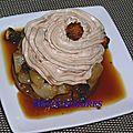 Crème pralinée et poires caramelisées sur palet de riz soufflé