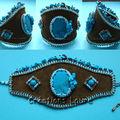 Brodé turquoise bleu
