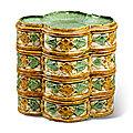 A set of four small sancai-glazed stacking quatrelobed dishes, <b>Liao</b> <b>dynasty</b> (907-1125)