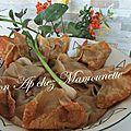 Raviolis chinois crevettes ciboule frits et échaudés suivis d'huîtres et moules de chez mon boucholeur du vivier sur mer