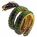 Enamel, diamond and ruby snake bracelet, italy, 1960