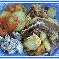 Confit de canard aux morilles à la crème, patates confites à l'ail et ratatouille à la rémi