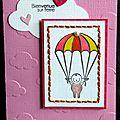 carte de naissance fille rose avec nuages et parachute