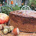 Noces de pierres et gâteau breton blé noir et farine de noisette, fourré à la crème de noisettes et pommes germaine de brasparts