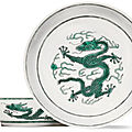 A pair of green-enamelled 'dragon' dishes, daoguang seal marks and period (1821-1850)