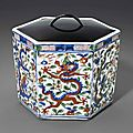 A wucai hexagonal'dragon' box, Wanli six-character mark within a double circle and of the period (1573-1619)