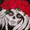 Gâteau crâne mexicain et roses