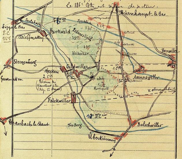 JMO 401e régt d'inf, 1916, croquis Ammertzwiller