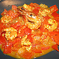 Gambas aux <b>tomate</b> et poivron (Sri Lanka)