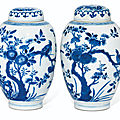 A pair of blue and <b>white</b> ovoid 'Bird' jars and covers, Qing dynasty, Kangxi period (1662-1722)