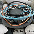 Méli mélo de couleurs qui s'assemblent bien pour ce <b>bracelet</b> multimatières double tour de poignet, tons bleu orange <b>noir</b> ! ;-)