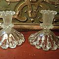 Anciens <b>Bougeoirs</b> en Verre Epais Soufflé Cotelé XVIIIe ? Glass Candlestik
