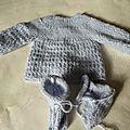 brassière et chaussons bleu ciel modèle Arsene taille naissance