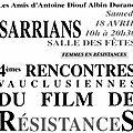 4ème Rencontres Vauclusiennes du Film de Résistances à Sarrians le samedi 18 avril 2015