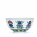 A very rare imperial doucai 'bajixiang' bowl, yongzheng six-character mark and of the period (1723-1735)