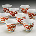 Eight iron-red 'dragon' <b>wine</b> <b>cups</b>, Daoguang seal marks and period (1821-1850)