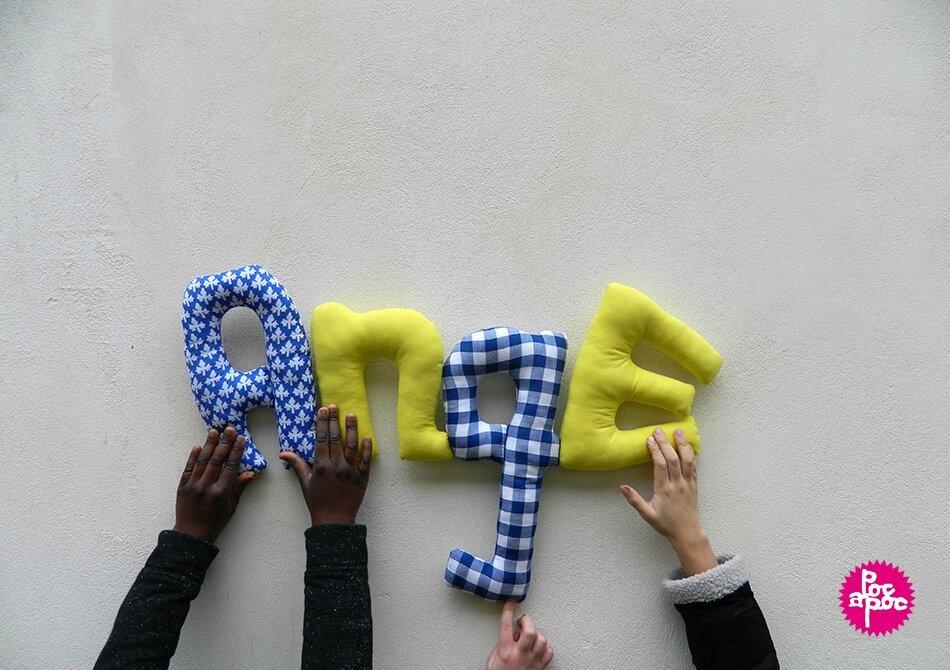 ange 2,mot en tissu,mot decoratif,cadeau de naissance,decoration,chambre d'enfant,cadeau personnalise,cadeau original,poc a poc, blog