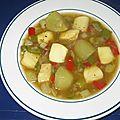 Soupe de filets de <b>calamar</b> géant et pommes de terre