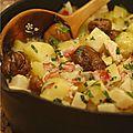 Cocotte de celeri rave, pommes de terre, marrons, poulet, lardons & lait de coco
