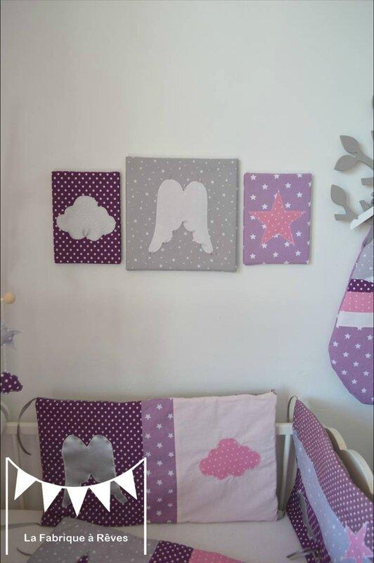 triptyque tableau décoratif chambre enfant bébé fille ange étoile ...