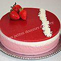 Entremet fraise-chocolat blanc