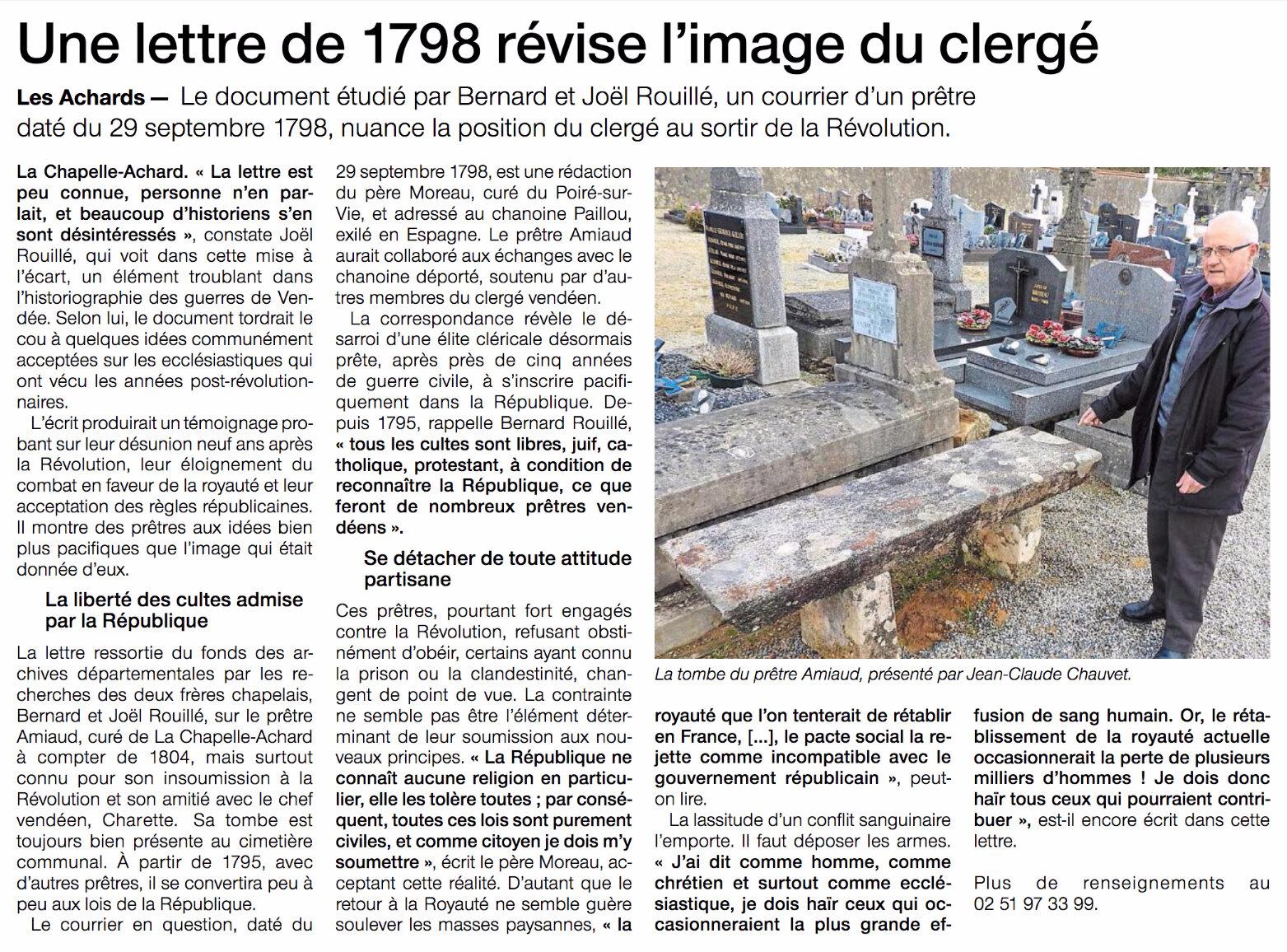 En 1798, le curé du Poiré-sur-Vie se soumet à la République