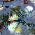 Peinture avec végétaux à la manière de Hans Hartung