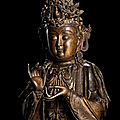 An important and rare gilt-bronze <b>figure</b> of Mahasthamaprapta, late Ming dynasty
