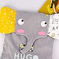 Sac à dos enfant éléphant personnalisé prénom Hugo sac école maternelle gris jaune moutarde personnalisable couleurs au choix première rentrée des classes